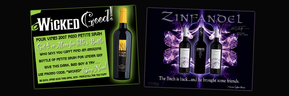 Four Vines and Cypher Winery WEb Graphics